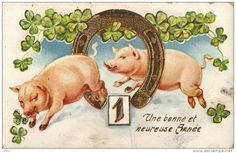 Stamps, coins and banknotes, postcards or any other collectable items are on Delcampe! Vintage Cards, Vintage Postcards, Happy Pig, Year Of The Pig, Merry Christmas, Christmas Ornaments, Little Pigs, Happy New Year, Teddy Bear