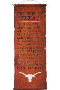 Eyes Of Texas Fight Song Banner