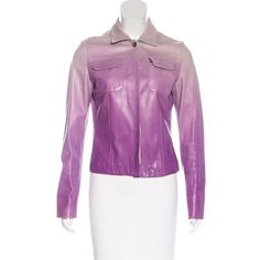 Pre-owned Loro Piana Ombr? Leather Jacket ($495) ❤ liked on Polyvore featuring outerwear, jackets, purple, leather jackets, loro piana, real leather jackets, purple jacket and ombre jacket