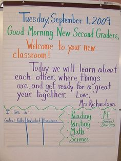 First Day of Second Grade Morning Message.  Need to use this!