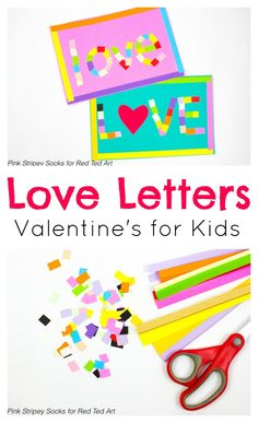 Mosaic Love Letters that are the perfect fine motor craft for kids to make for Valentine's Day! #valentinesday #valentinecraft