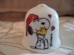 Vintage Peanuts Snoopy Mini Ceramic Bell Christmas Ornament