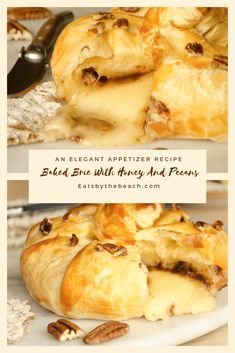 Baked Brie with a topping of brown sugar, cinnamon, and pecans. Then baked in a flaky puff pastry crust and kissed with a glaze of honey and even more pecans. Brie Appetizer, Elegant Appetizers, Best Appetizers, Appetizer Recipes, Holiday Appetizers, Burger Recipes, Dip Recipes, Yummy Recipes, Appetizers