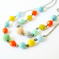 Two Strand Colorful Beaded Necklace by NestPrettyThingsShop