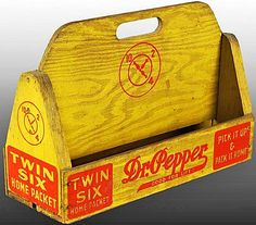 Dr. Pepper wood 12-pack bottle carrier, circa 1930s.
