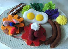 Felt Food Breakfast Felt Pancakes Bacon Sausages Eggs by decocarin