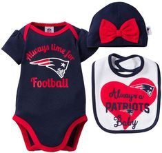 Baby New England Patriots Always Time for Football 3-Piece Bodysuit Set 74e67b834