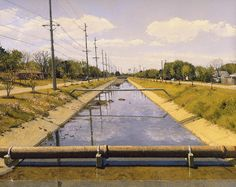 Rackstraw Downes, Concrete Ditch with Sewer Main in Spring, Texas City, 1997
