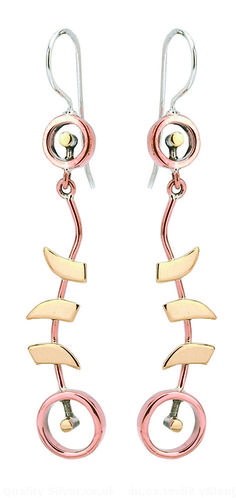 Tianguis Jackson Copper, Silver and Brass Absstract Floral Drop Earrings
