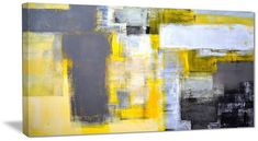 """Design Art Usa """"Grey and Yellow Blur Abstract"""" Abstract Canvas Print, 40""""x20"""""""