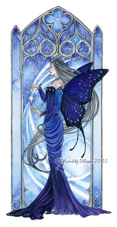 Night Sky, Fairy art, Blue stars, Faerie Queem, butterfly wings limited edition…