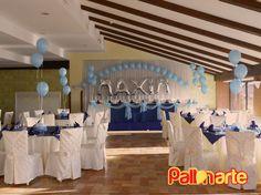 christening balloons decoration Decoracion con globos para bautismo Allestimento con palloncini Battesimo