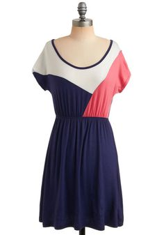 Pep Rally Dress - Blue, Pink, White, Casual, A-line, Short Sleeves, Summer, 80s, Short, Jersey