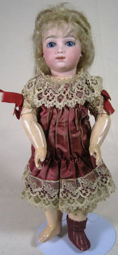 "RARE A.T. Thuillier Antique French Bisque Head Doll ~ a Beauty! 12"" tall antique A.T. Thuillier doll. These dolls were made from 1875 - 1893 and the earlier soft-faced versions are coveted."
