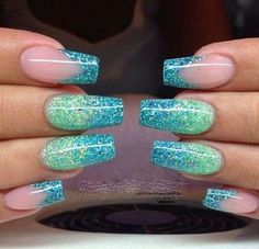 Light Green & Turquoise Blue Glitter polish with partial French Tip Manicure