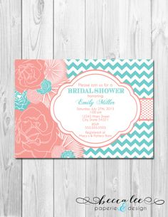 Bridal Shower Birthday Party Bachelorette Party Invitations in Coral and Turquoise