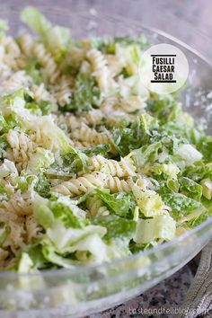 Fusilli Caesar Salad by tasteandtell: A fresh take on the Caesar salad, this pasta salad/green salad hybrid is combined with a homemade dressing for a perfect side dish or potluck salad. #Salad #Pasta #Caesar
