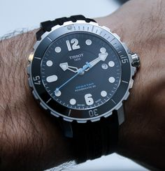 "Tissot Seastar 1000 Powermatic 80 Watch Hands-On: Upgrades Increase The Want - See the photo gallery and find out what all the want is about on aBlogtoWatch.com ""For 2014, Tissot quietly released a new version of their Seastar dive watch range, called the Seastar 1000 Powermatic 80, that includes some upgrades and features that make it a standout diver for the money. We anticipate that these new features will slowly replace the existing generation Seastar models..."" #ABTWBaselworld2014"
