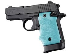 SIG Sauer P938 Ambi Safety Rubber Grip with Finger Grooves Aqua - Soft OverMolded Rubber - P938 - SIG Sauer Grips - Handgun Grips - Hogue Products