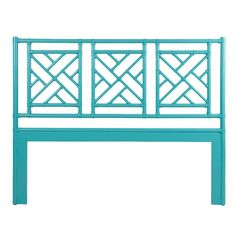 A turquoise finish over rattan and leather brings color and character to this finely crafted Chinese Chippendale-style headboard. Attaches to any standard bed frame. Wicker Couch, Wicker Bedroom, Wicker Shelf, Wicker Table, Wicker Furniture, Wicker Dresser, Wicker Trunk, Wicker Planter, Wicker Baskets