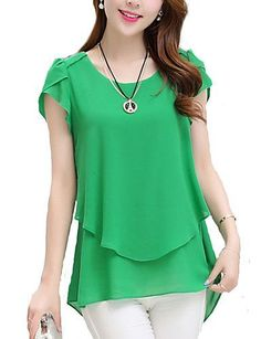 Short Sleeve Chiffon Blouse Peplum Summer Tops Women's Short Sleeve Chiffon Blouse Peplum Summer Tops Ladies Long Office Shirts Plus Size Ruffle Blouse Femme Plus Size Women's Tops, Plus Size Blouses, Plus Size Short Sleeve Tops, Blouse Peplum, Ruffle Blouse, Maxi Robes, Chiffon Shirt, Chiffon Blouses, Chiffon Gown