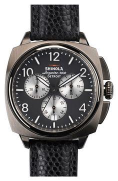 Shinola 'The Brakeman' Chronograph Leather Strap Watch, 46mm