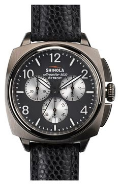 Shinola 'The Brakeman' Chronograph Leather Strap Watch, 46mm