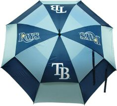 """MLB Tampa Bay Rays Umbrella, Navy by Team Golf - 62"""" double-canopy umbrella with multi-colored panels and full color durable imprint. Includes an easy grip molded handle. Withstands strong winds. http://www.umbrellaforsale.com/mlb-tampa-bay-rays-umbrella-navy/"""