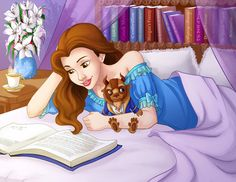 Belle Reading - by madam-marla on deviantART