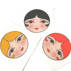 Craft doll faces SEW IN Russian Matryoshka doll faces - Anoushka doll face pack of 4