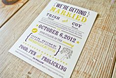 I think this might be the winner! I love the little tree.   Wedding Invitation Rustic tree   mustard and by WideEyesDesign, $2.00