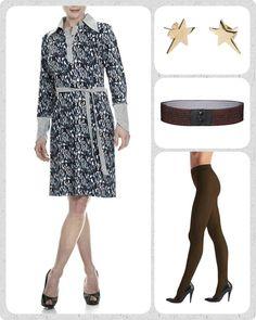 """Kender du den der følelse med at være rigtig """"påklædt""""? Altså at have et outfit på, hvor du bare føler, du kan erobre hele verden! . Sådan har jeg det med den lækre Alberte kjole! Den er lidt business-agtig på en cool måde. . Når jeg tager den på, skifter jeg selvfølgelig bindebåndet ud med et af vores über populære Waist elastikbælter, her i kobber, tilsætter et par brune strømpebukser fra Oroblu og så lige et par stjerner i ørerne."""