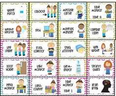 free Classroom Job Chart Labels | water patrol (2), caboose, message carrier, table monitor 1-4, weather ...