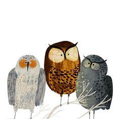 Three friends ❤️ #drawing #art #gouache #owl