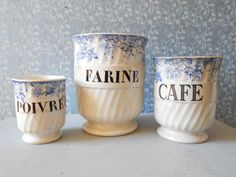 French Antique Sarreguemines canisters  flowers by Birdycoconut