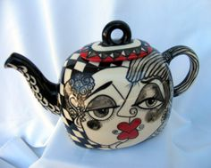 Square Ceramic TEAPOT Hand Painted Black, White & Red Picasso Style Lovers Faces on ETSY by artistsloftppaquin1 on Etsy