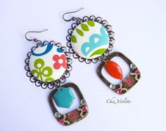 Bright mismatched earrings  spring floral jewelry 2016 fashion trendy look outfit mode bijou - 16.50€ - www.cocoflower.net