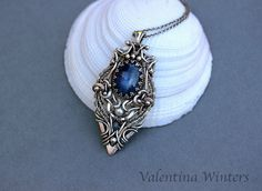 Kyanite Silver pendant, Silver Jewelry, wire wrapped necklace, handmade jewelry…