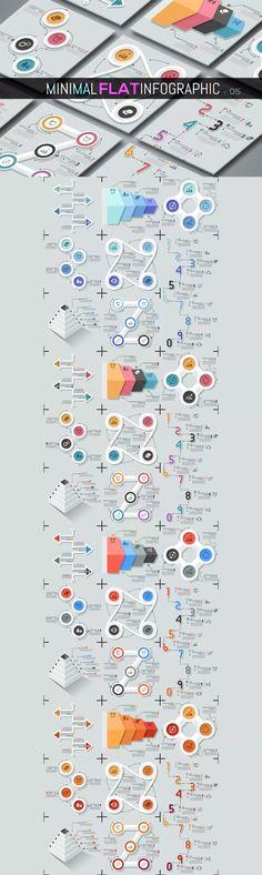 Minimal Flat Infographics Templates AI, EPS, PSD