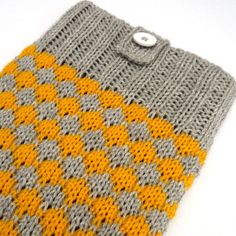 Knitted iPad case in yellow and grey £17.00