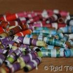 Magazine Beads - My students said this was their favorite thing to do EVER! Their beads turned out pretty good too! We did them as an Earth Day project for them to make as a Mother's Day present.  @Kelly Teske Goldsworthy Teske Goldsworthy Kuenzi