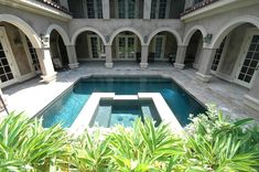 Make your courtyard a favorite meeting spot by adding a pool and spa combo. Pool Spa, Swimming Pool Designs, Swimming Pools, Courtyard Pool, Blue Pool, Spa Design, Salt And Water, Aqua Blue, Backyard