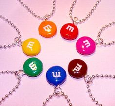 M&M's Candy Necklace - Chocolate Candy Cute Jewelry - Polymer Clay - Little Girls and Teens