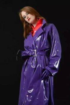 Bildergebnis für Shiny blue PVC Trenchcoat