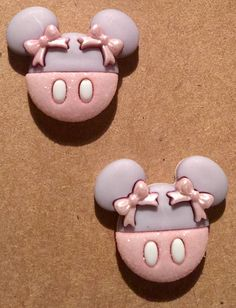 Minnie Mouse earrings in pale gray and pink on nickel free