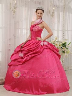 Modern Coral Red Quinceanera Dress One Shoulder Taffeta Beading Pick-ups Ball Gown  http://www.fashionos.com  http://www.facebook.com/quinceaneradress.fashionos.us  You'll be the belle of the ball in this glittering fuchsia ball gown.It features a one shoulder top with a single strap and asymmetrical neckline.Quality and smooth taffeta is comfortable and eye-catching.