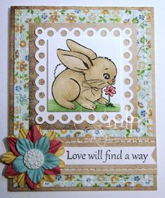 Prickley Pear Rubber Stamps:  FF0153 Bunny With Daisy and FF0158 Love Will Find A Way.