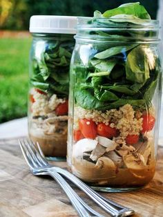 Salad-in-a-Jar: an ingenious idea from food blogger Julia Mestas: First, grab an old pasta-sauce jar and pour dressing at the bottom. Then layer your fixings on top, finishing with the greens. Take it to the office, takeit on a picnic -- it's wilt-free magic.
