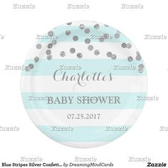 Blue Stripes Silver Confetti Baby Shower Plate