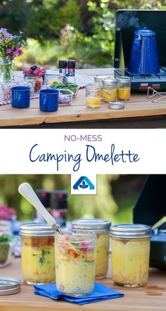 No-Mess Camping Omelette – Prep, pack and prepare eggs in mason jars for a qui. No-Mess Camping Omelette – Prep, pack and prepare eggs in mason jars for a quick breakfast you can eat out of the container. Camping 101, Camping Glamping, Camping Life, Camping Meals, Family Camping, Backpacking Meals, Camping Stuff, Camping Cooking, Outdoor Camping
